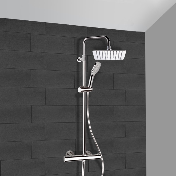 Exposed Pipe Shower, Remer SC504, Chrome Thermostatic Exposed Pipe Shower System with 10