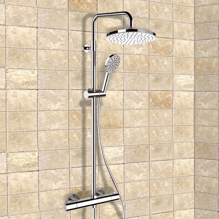 exposed pipe shower . Exposed Pipe Shower  Remer SC509 Chrome Thermostatic System With 10 Elegance Nameek S