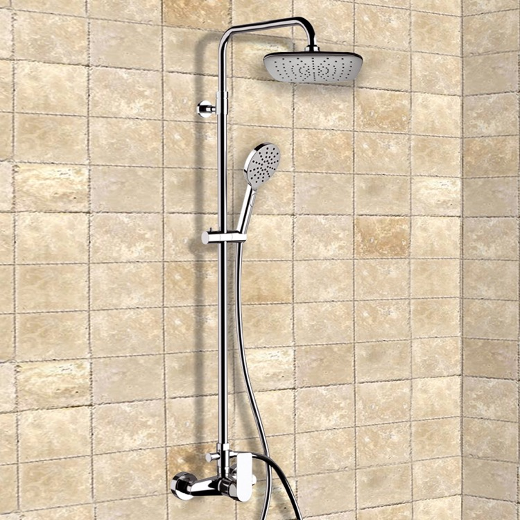 Exposed Pipe Shower, Remer SC519, Chrome Exposed Pipe Shower System with 8