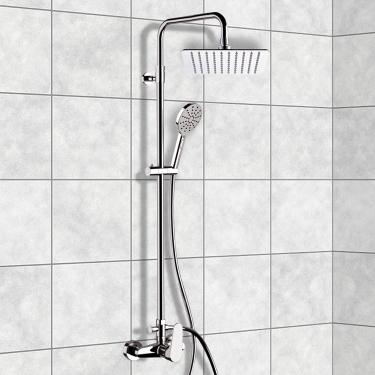 exposed pipe shower . Exposed Pipe Shower  Remer SC533 Chrome System With 10 Class Line Nameek S