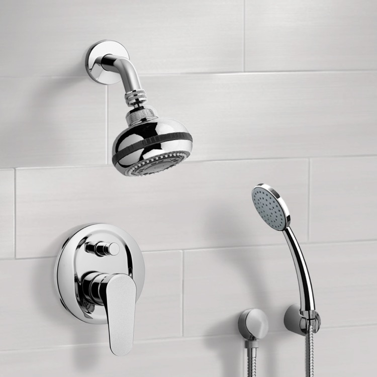 Shower Faucet, Remer SFH06, Chrome Shower System with Multi Function Shower Head and Hand Shower