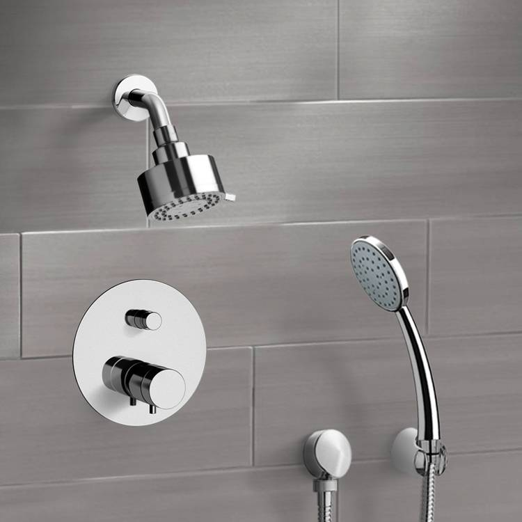 Shower Faucet, Remer SFH07, Chrome Thermostatic Shower System with Multi Function Shower Head and Hand Shower