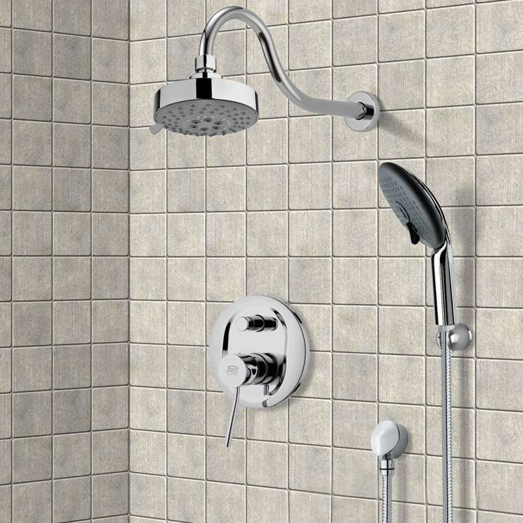 Shower Faucet, Remer SFH6106, Chrome Shower System with Multi Function Shower Head and Hand Shower