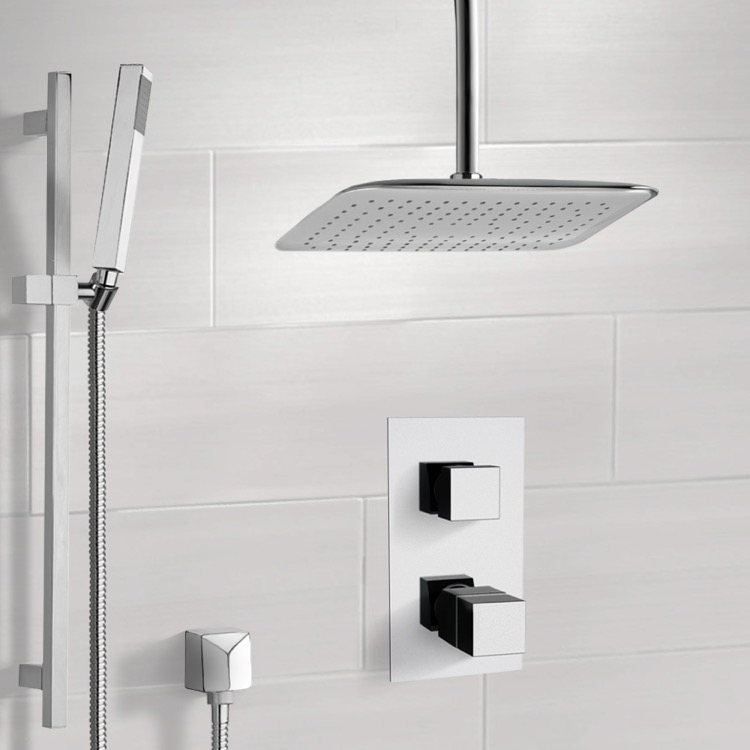 Shower Faucet, Remer SFR7400, Chrome Thermostatic Shower System with Ceiling 14