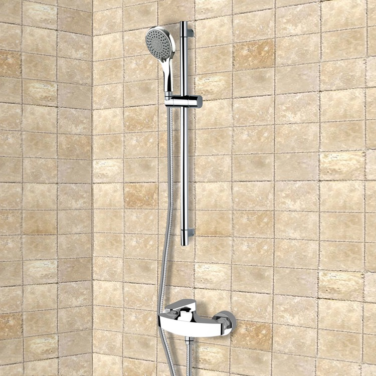 Shower Faucet, Remer SR007, Chrome Slidebar Shower Set With Multi Function Hand Shower