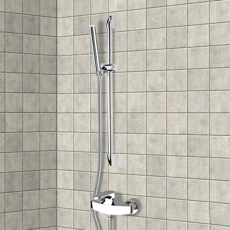 Shower Faucet, Remer SR012, Chrome Slidebar Shower Set With Hand Shower
