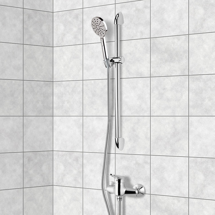 Shower Faucet, Remer SR028, Chrome Slidebar Shower Set With Multi Function Hand Shower