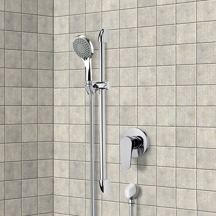 Shower Faucet, Remer SR030, Chrome Slidebar Shower Set With Multi Function Hand Shower