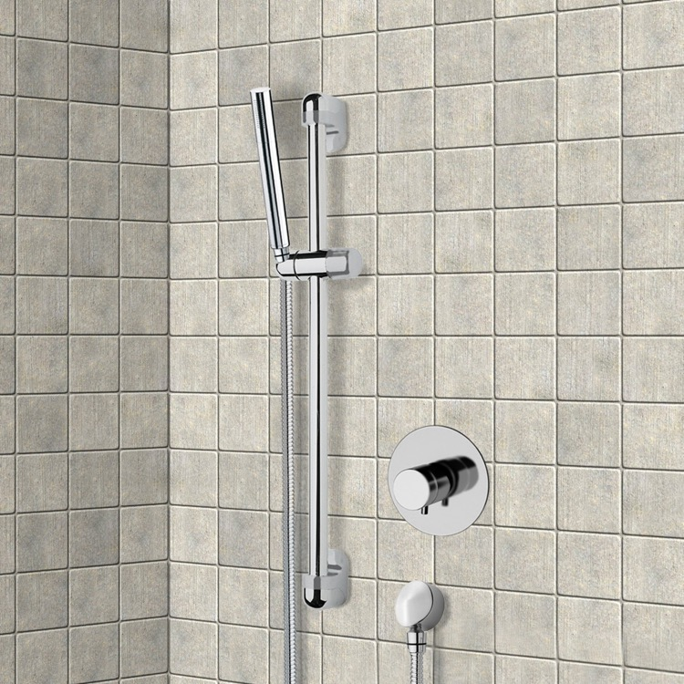Shower Faucet, Remer SR038, Chrome Thermostatic Slidebar Shower Set With Hand Shower