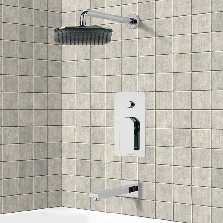 Tub and Shower Faucet, Remer TSF2023, Chrome Tub and Shower Faucet Sets with 8