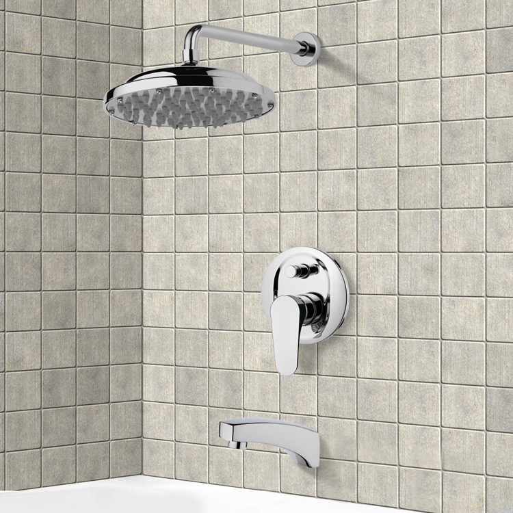 Tub and Shower Faucet, Remer TSF2029, Chrome Tub and Shower Faucet Sets with 9