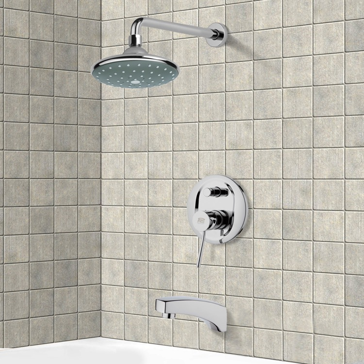 Tub and Shower Faucet, Remer TSF2045, Chrome Tub and Shower Faucet Sets with 6
