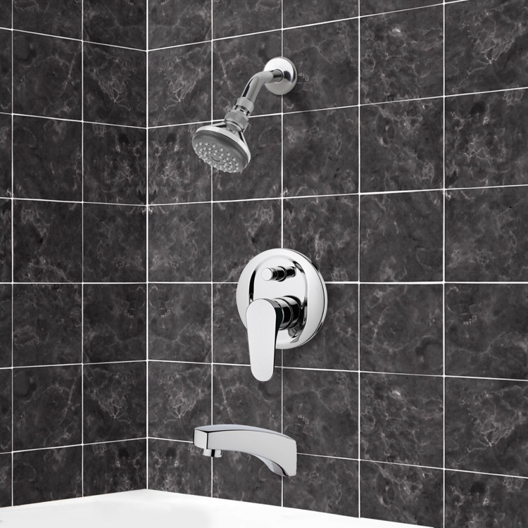 Tub and Shower Faucet, Remer TSF2056, Chrome Tub and Shower Faucet Sets with Adjustable Shower Head