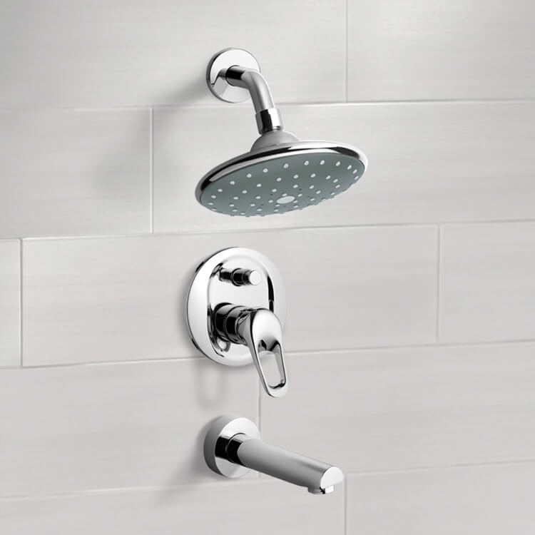 Tub and Shower Faucet, Remer TSF2066, Chrome Tub and Shower Faucet Sets with 6