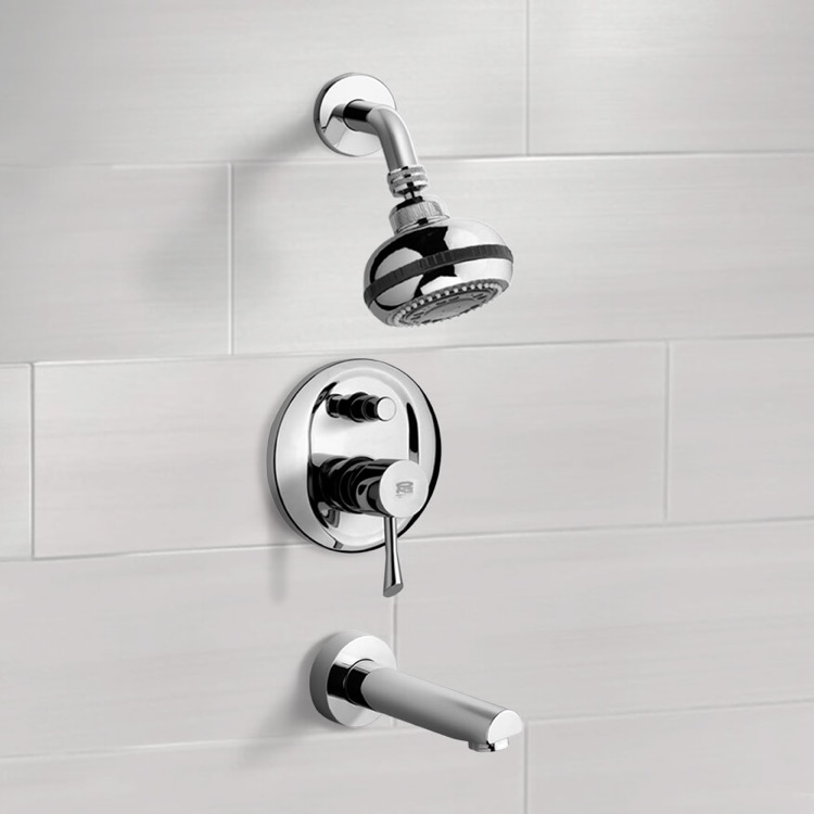 Tub and Shower Faucet, Remer TSF2083, Chrome Tub and Shower Faucet Sets with Multi Function Shower Head