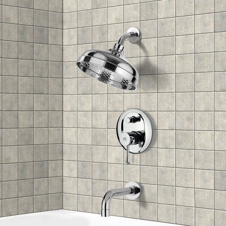 Tub and Shower Faucet, Remer TSF2103, Chrome Tub and Shower Faucet Sets with 8