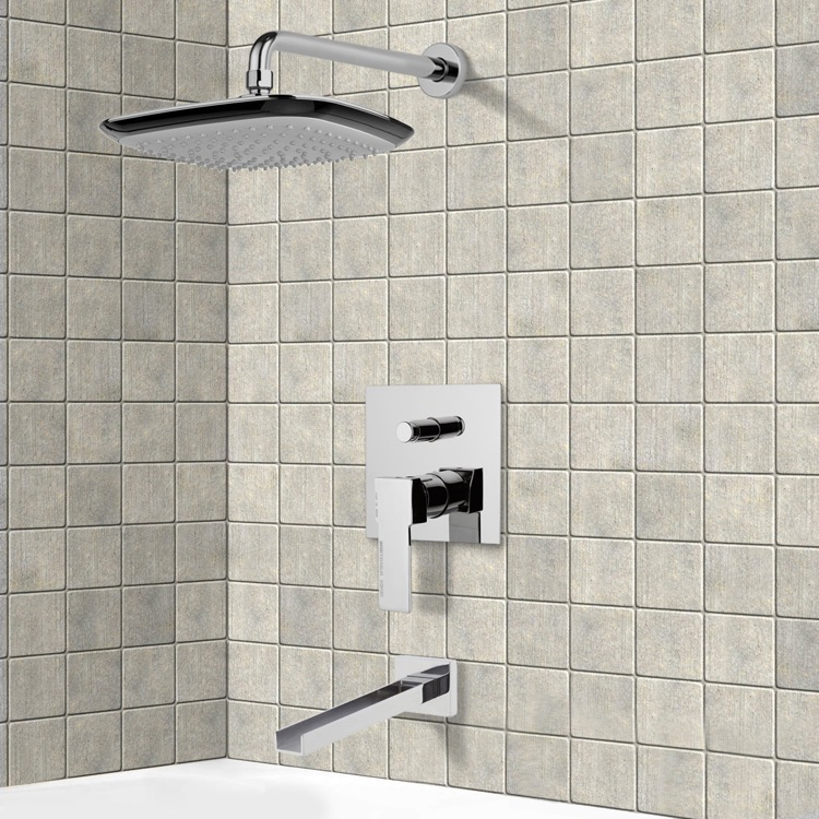 Tub and Shower Faucet, Remer TSF2157, Chrome Tub and Shower Faucet Sets with 10