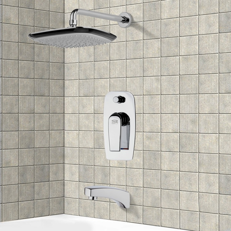 Tub and Shower Faucet, Remer TSF2158, Chrome Tub and Shower Faucet Sets with 10