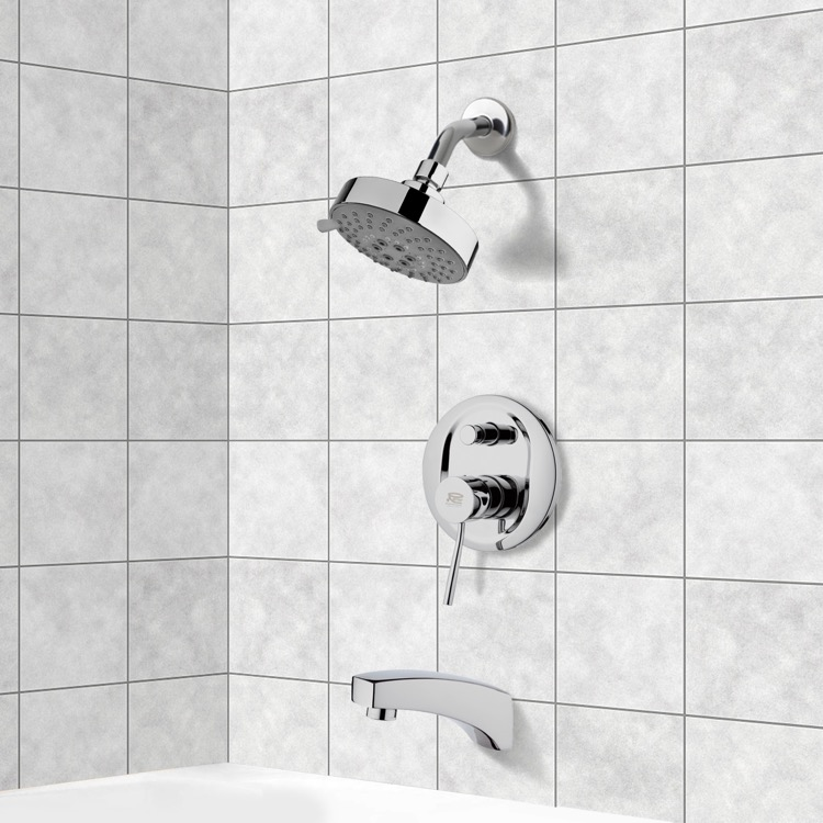 Tub and Shower Faucet, Remer TSF2203, Chrome Tub and Shower Faucet Sets with Multi Function Shower Head