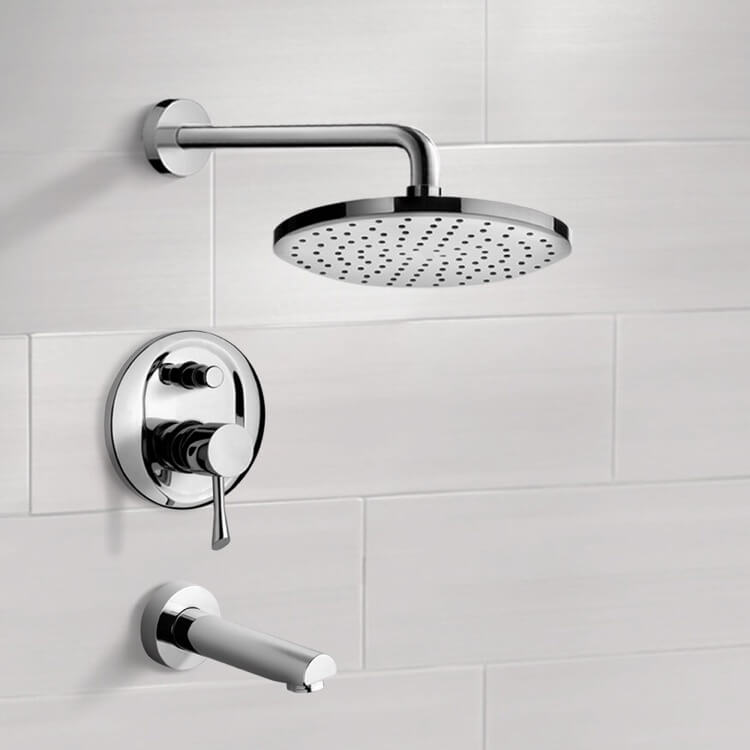 Tub and Shower Faucet, Remer TSF2212, Chrome Tub and Shower Faucet Sets with 8