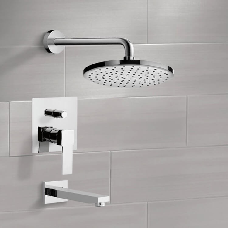 Tub and Shower Faucet, Remer TSF2217, Chrome Tub and Shower Faucet Sets with 8