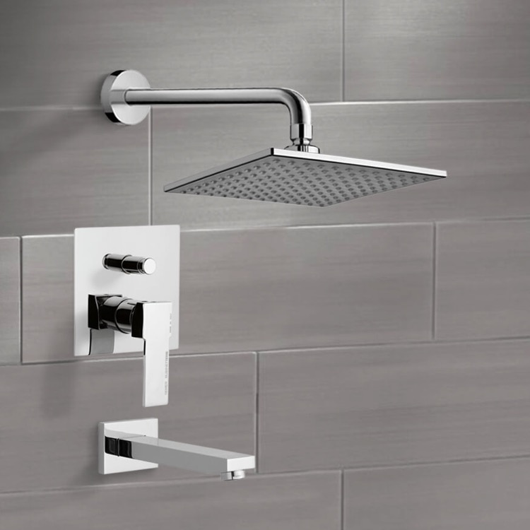 Tub and Shower Faucet, Remer TSF2223, Chrome Tub and Shower Faucet Sets with 8