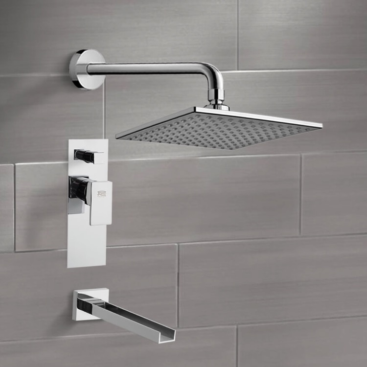 Tub and Shower Faucet, Remer TSF2224, Chrome Tub and Shower Faucet Sets with 8
