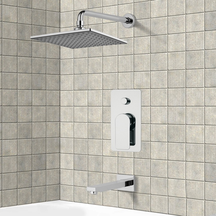 Tub and Shower Faucet, Remer TSF2225, Chrome Tub and Shower Faucet Sets with 8
