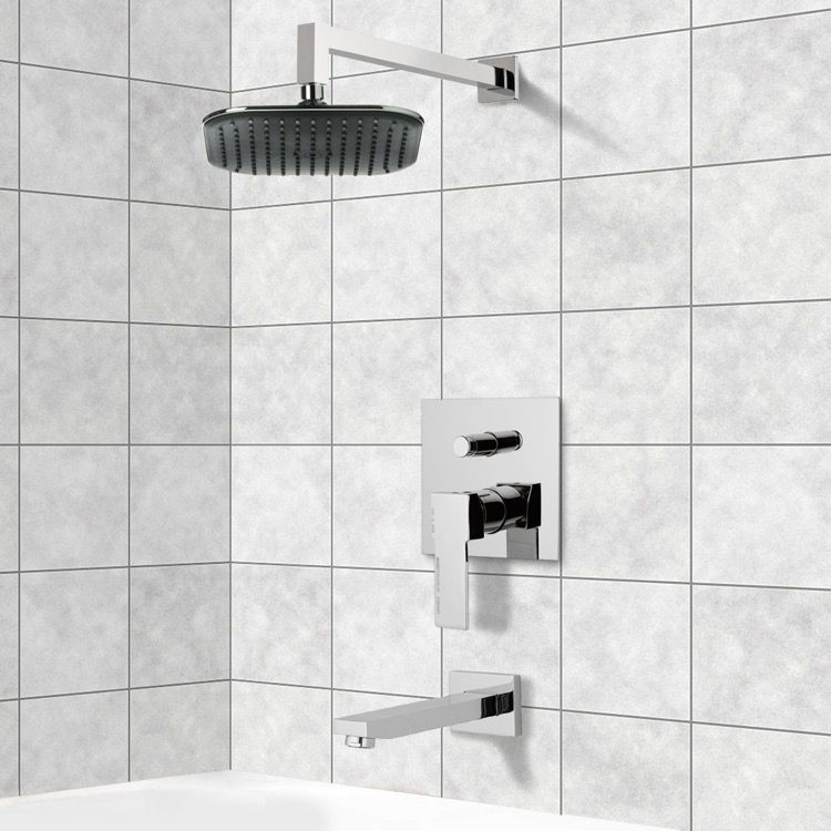 Tub and Shower Faucet, Remer TSF2280, Chrome Tub and Shower Faucet Sets with 8