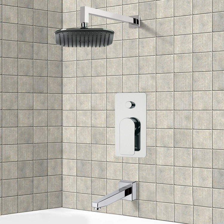 Tub and Shower Faucet, Remer TSF2282, Chrome Tub and Shower Faucet Sets with 8
