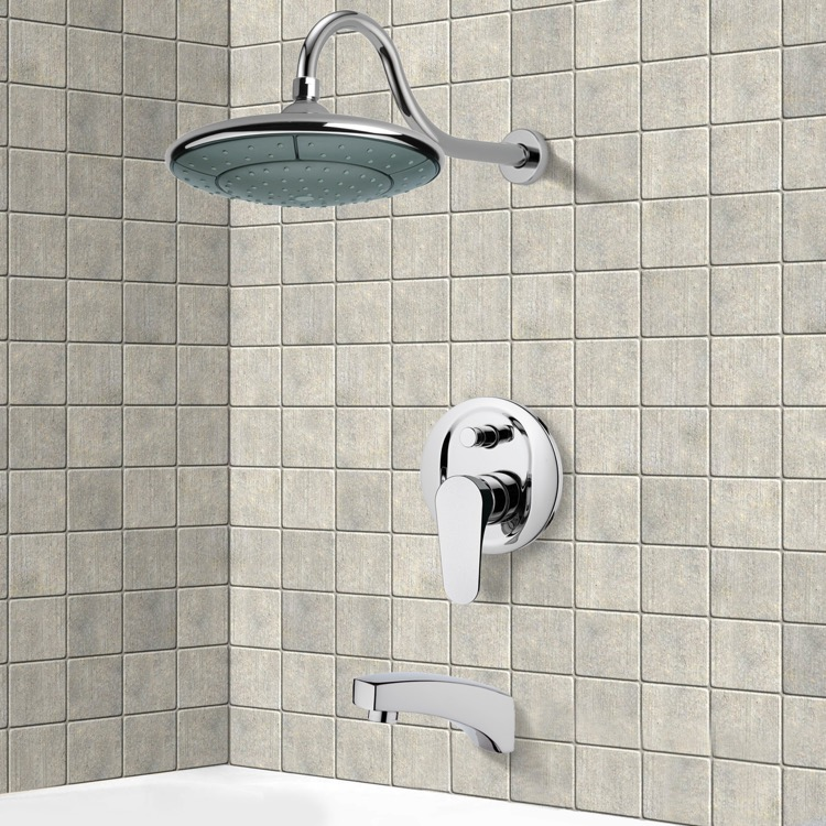 Tub and Shower Faucet, Remer TSF2284, Chrome Tub and Shower Faucet Sets with 9