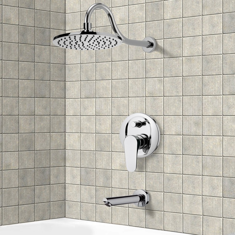 Tub and Shower Faucet, Remer TSF2291, Chrome Tub and Shower Faucet Sets with 10