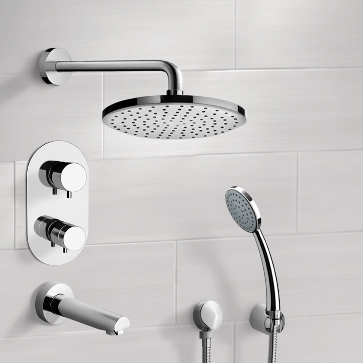 Tub and Shower Faucet, Remer TSH03, Chrome Thermostatic Tub and Shower System with 8