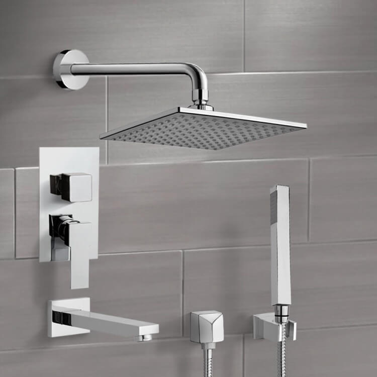 Tub and Shower Faucet, Remer TSH06, Chrome Tub and Shower System with 8