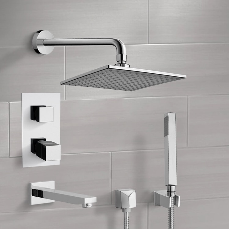 Tub and Shower Faucet, Remer TSH07, Chrome Thermostatic Tub and Shower System with 8