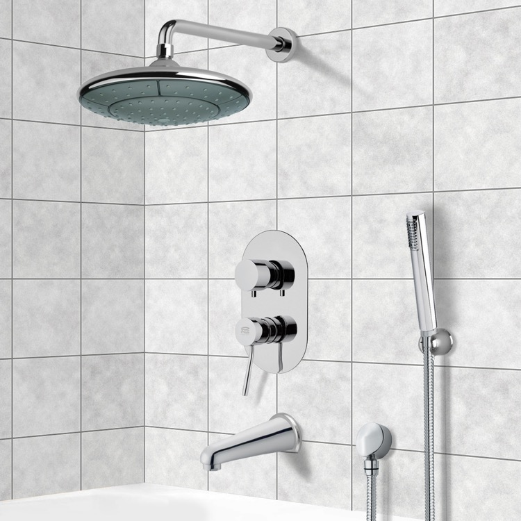 Tub and Shower Faucet, Remer TSH4032, Chrome Tub and Shower System with 9