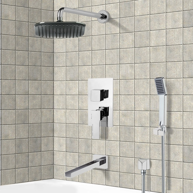 Tub and Shower Faucet, Remer TSH4036, Chrome Tub and Shower System with 8