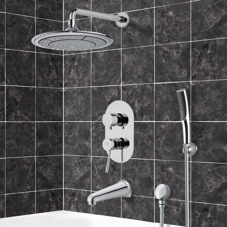Tub and Shower Faucet, Remer TSH4040, Chrome Tub and Shower System with 9