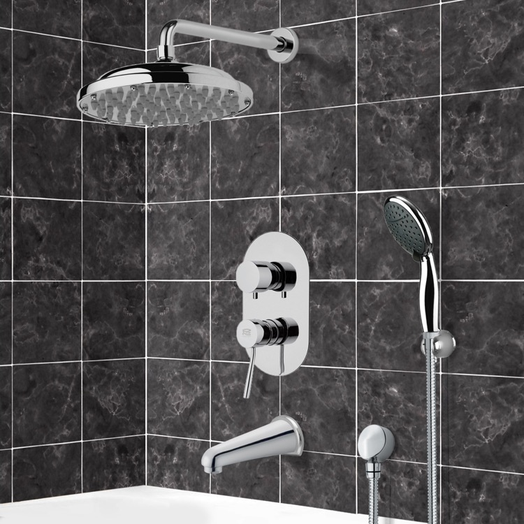 Tub and Shower Faucet, Remer TSH4052, Chrome Tub and Shower System with 9