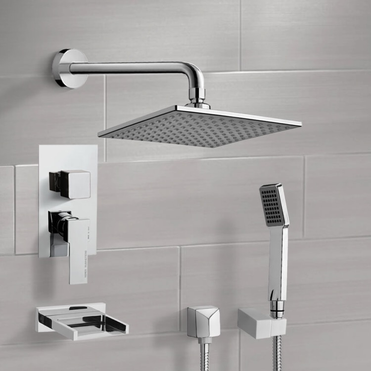 Tub and Shower Faucet, Remer TSH4111, Chrome Tub and Shower System with 8