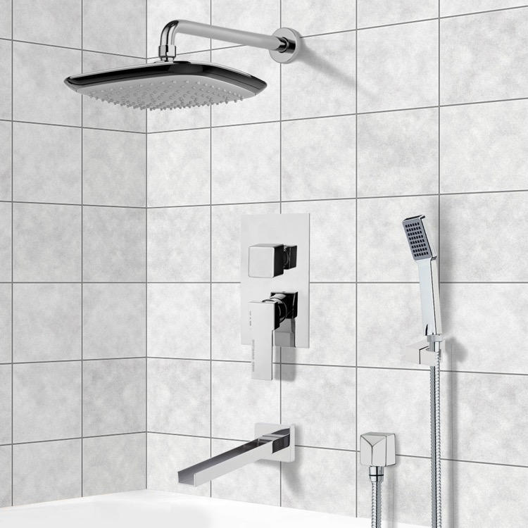 Tub and Shower Faucet, Remer TSH4133, Chrome Tub and Shower System with 10