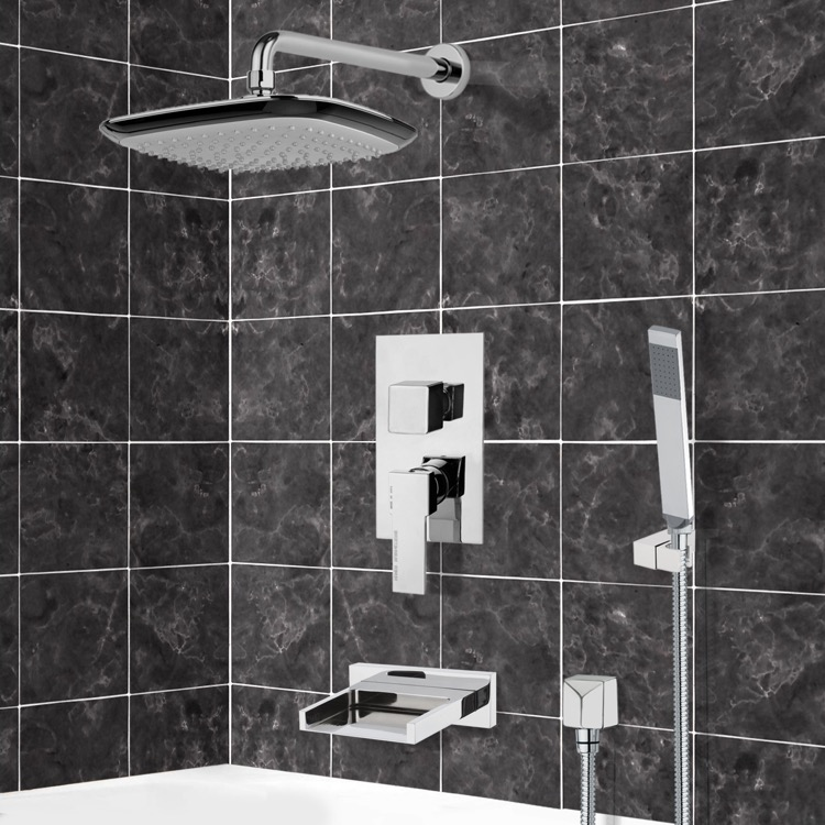 Tub and Shower Faucet, Remer TSH4135, Chrome Tub and Shower System with 10