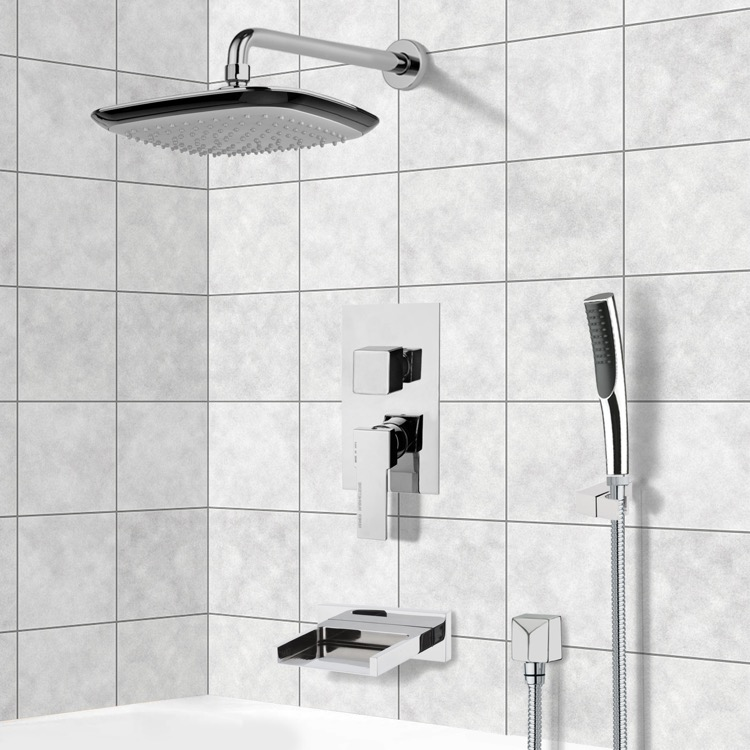 Tub and Shower Faucet, Remer TSH4136, Chrome Tub and Shower System with 10