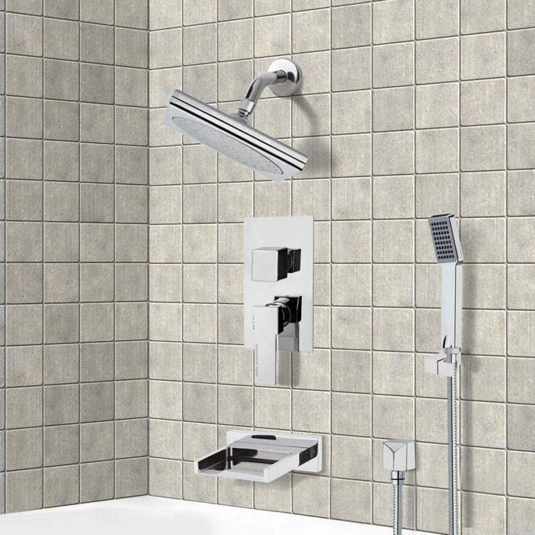 Tub and Shower Faucet, Remer TSH4194, Chrome Tub and Shower System with 9