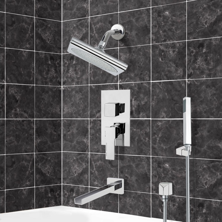 Tub and Shower Faucet, Remer TSH4195, Chrome Tub and Shower System with 9