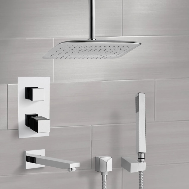 Tub and Shower Faucet, Remer TSH4400, Chrome Thermostatic Tub and Shower System with Ceiling 14