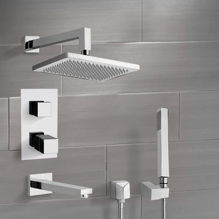 Tub and Shower Faucet, Remer TSH4402, Chrome Thermostatic Tub and Shower System with 9.5