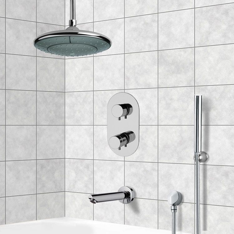 Tub and Shower Faucet, Remer TSH4406, Chrome Thermostatic Tub and Shower System with 9