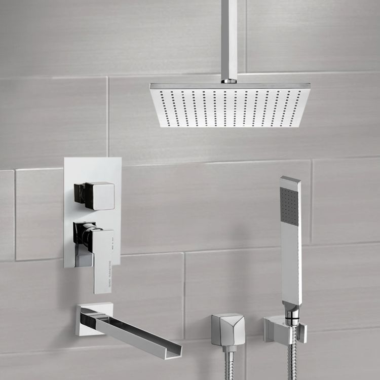 Tub and Shower Faucet, Remer TSH4506, Tub and Shower System with Ceiling 12
