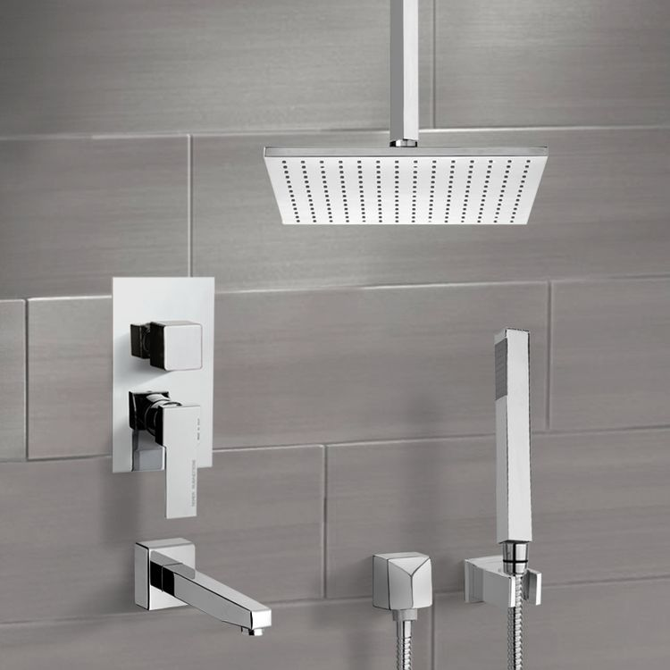 Tub and Shower Faucet, Remer TSH4507, Tub and Shower System with Ceiling 12